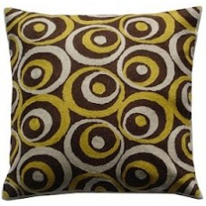 Crewel Pillow Bubbles in bubbles White and Yellow on Brown Cotto