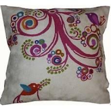 Crewel Pillow Building Nest Pinks Cotton Duck