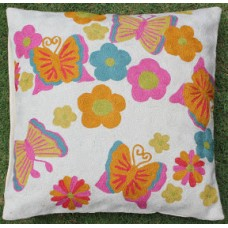 Crewel Pillow Butterfly and Flowers Multi Cotton Duck