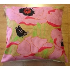 Crewel Pillow Butterfly on Flowers Pink Cotton Duck