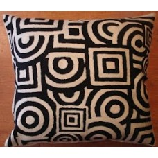 Crewel Pillow  Circles &  Squares Black on WHite Cotton Duck