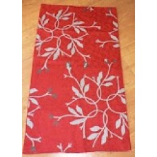 Crewel Rug Autumn Branches White on Red Chain Stitched Wool Rug
