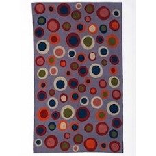 Crewel Rug Bubbles Multicolor on Purple Chain Stitched Wool Rug