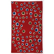 Crewel Rug Bubbles Multicolor on Red Chain Stitched Wool Rug