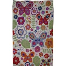 Crewel Rug Butterflies in the garden Multi Chain Stitched Wool Rug