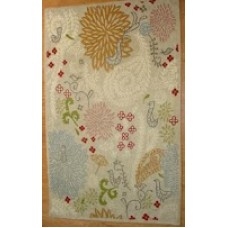 Crewel Rug Dahliahs and Paisleys Off White Chain Stitched Wool Rug