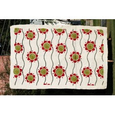 Crewel Rug Floating Flora Reds on White Chain Stitched Wool Rug