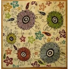 Crewel Rug Flora Exotica Cream Chain Stitched Wool Rug