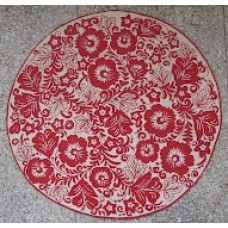 Crewel Rug Floral Arrangement Red on White Chain Stitched Wool Rug