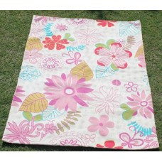 Crewel Rug Floral bed Pinks on White Chian Stitched Wool Rug