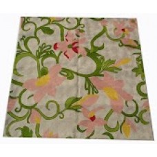 Crewel Rug Flowers & Vines Multi Chain Stitched Wool Rug