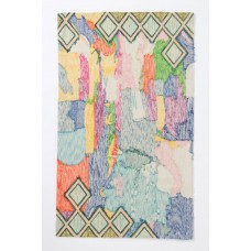 Crewel Rug Abstraction Multi Chain Stitched  Wool Rug