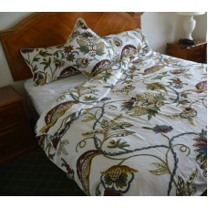 Crewel Bedding Atherton  Multi Color on White Cotton Duck