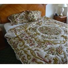 Crewel Bedding Art Nouveau Classic White Silk Organza