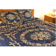 Crewel Bedding Artful Florals Deep Royal Blue Cotton Crewel Duve
