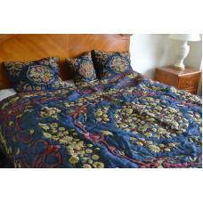 Crewel Bedding Art Nouveau Silky Royal Blue Silk Organza