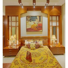 Crewel Bedding Art Nouveau Hay Gold Silk Organza King
