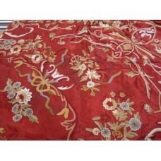 Crewel Bedding Art Nouveau Rust Silk Organza