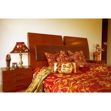 Crewel Bedding Art Nouveau Burgundy Silk Organza