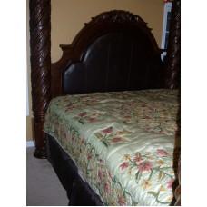 Crewel Bedding Art Nouveau Pistachio Silk Organza