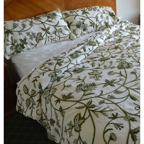 Crewel Bedding Leaves Green On White Cotton Crewel Duvet Cover