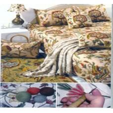 Crewel Bedding Lotus Peach Puff Silk Organza