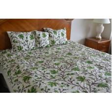 Crewel Bedding Peace Earthly Greens & Brown Silk Dupioni Duvet