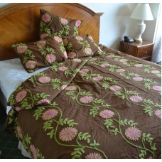 Crewel Bedding Sunflower Vine Cocoa Cotton Duck Duvet Cover Twin
