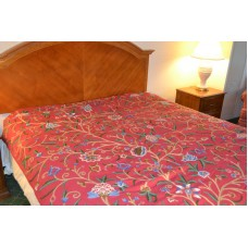 Crewel Bedding Tree of Life Pinkish Red Queen Cotton