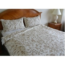 Crewel Bedding Tree of Life Neutrals on Off White Duvet Cover