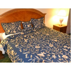Crewel Bedding Tree of Life Neutrals on Royal Blue Duvet Cover