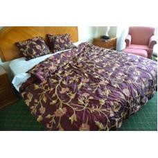 Crewel Bedding Wintertime Vermilion Silk Quilt