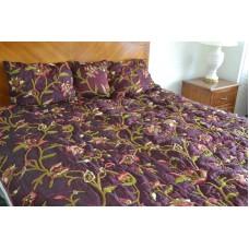 Crewel Bedding Wild Flower Vermilion Silk Organza Quilt