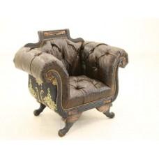 Crewel Bloom Black Cotton Velvet Upholstered  settee
