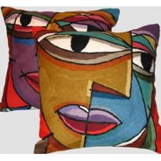 Crewel Chain Stitch Pillow Perplexo Multi Cotton Duc