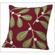 Crewel Chainstitched Mistletoe Crewel Pillow Cover (18x18)
