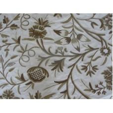 Crewel Fabric Amanda Browns on Off White Cotton