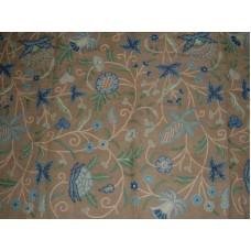 Crewel Fabric Antique Natural Brown Jute