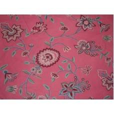 Crewel Fabric Big Bright Flowers on Pink Cotton Duck