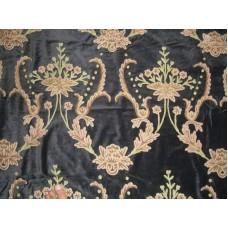 Crewel Fabric Bloom Reds on Black Nocturn Cotton Velvet