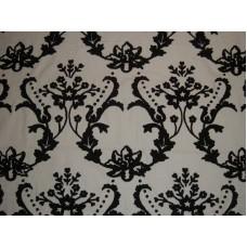 Crewel Fabric Bloom Black on White Cotton Duck