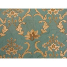 Crewel Fabric Bloom Browns on Teal Blue Cotton Duck