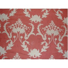 Crewel Fabric Bloom White on Bright Coral Linen