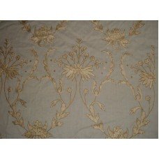 Crewel Fabric Bloom Golden Silk on Natural White Wool