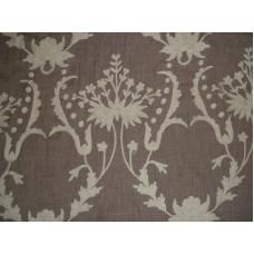 Crewel Fabric Bloom White on Dark Melange Wool
