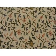 Crewel Fabric Blooms and Buds Off White Cotton