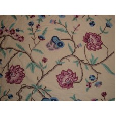 Crewel Fabric Blooms on Branches Pearl Glow Cotton Duck