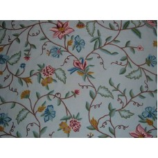 Crewel Fabric Big Bright Flowers on Blissful Blue Cotton Duck