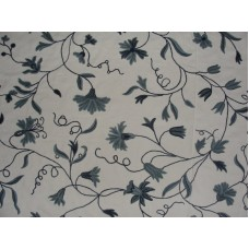 Crewel Fabric Butterflies on Vines Blues on Off White Cotton Duc