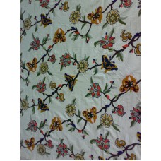 Crewel Fabric Butterfly n blooms on off white Cotton Duck